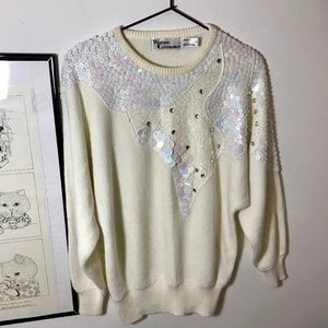 Vintage White Holographic Sequin 80s Sweater